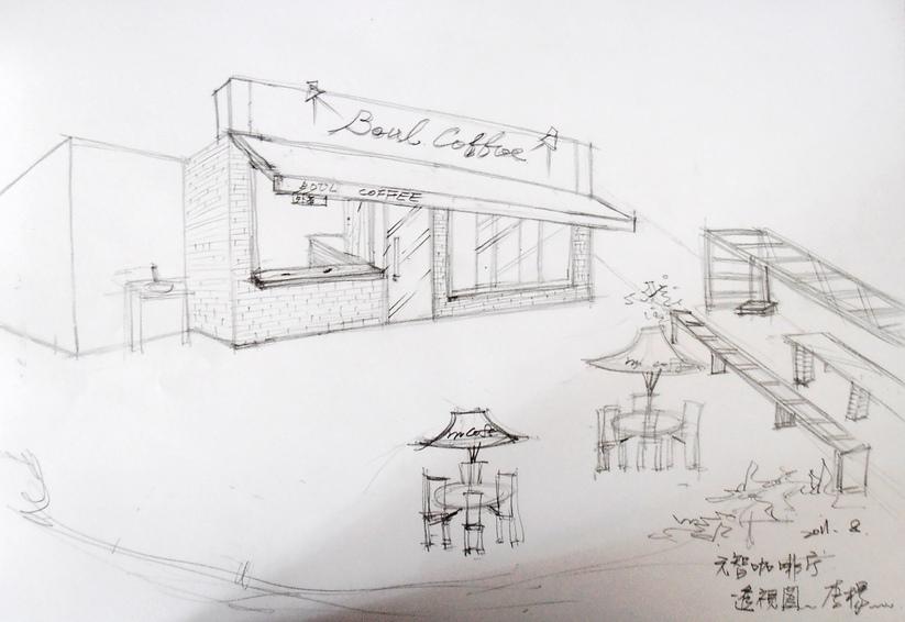 校园建筑手绘线稿